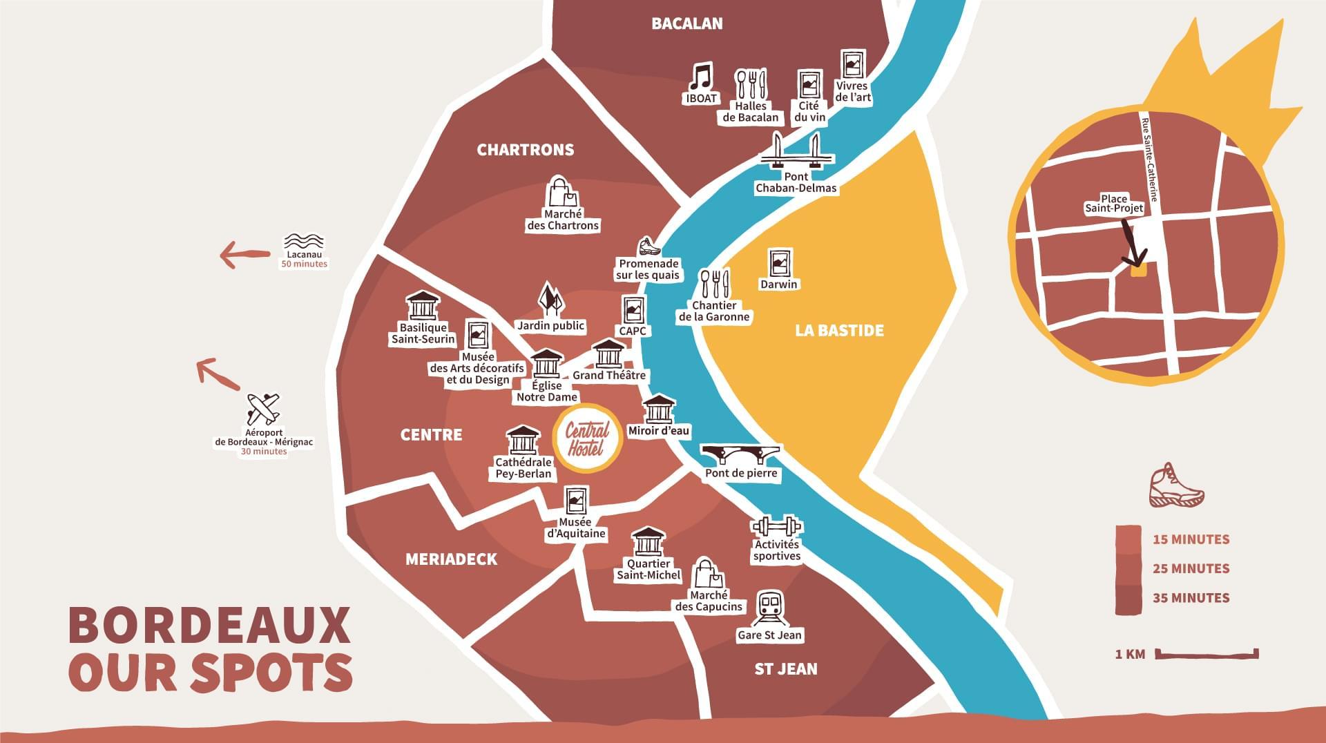 Map showing the different Hotspots of Bordeaux